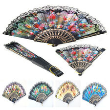 Vintage Spanish Flower Floral Fabric Lace Folding Hand Dancing Wedding Party Fan