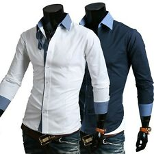 New Men Luxury Fashion Formal Casual Slim Fit Dress Shirts T-Shirt Blouse