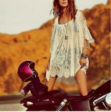 New Vintage Hippie Boho People Embroidery Floral Lace Crochet Mini Party Dress-S