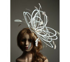 White & Taupe Wedding Feather Fascinator Hat  Choose any colour Satin & Feather