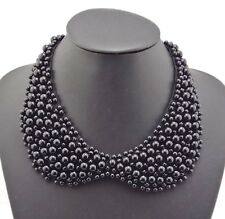 Fashion Handmade White Black Noble Lace Pearl Beads Bib Collar Necklace