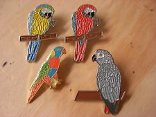 Parrot - Macaw & African grey pin badge. Choice of 3 colours. Red Yellow Grey