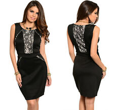 FASHION WOMENS BLACK ELEGANT COCKTAIL PARTY EVENING BODYCON LITTLE BLACK DRESS