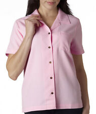 UltraClub 8981 Ladies' Solid Short Sleeve Cabana Breeze Camp Shirt Button Up
