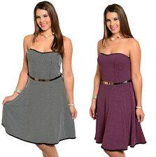 FASHION WOMEN PLUS SIZE SWEETHEART STRAPLESS BELTED KNEE LENGTH CASUAL DAY DRESS