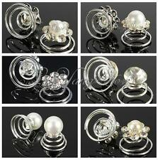 6/12x Bridal Wedding Prom Crystal Pearl Flower Hair Coils Swirl Spiral Twist Pin