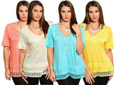 Lady Sexy Short Sleeve Plus Size Casual Slim Summer Top Shirt Blouse XL-3X