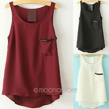 NEW LADIES WOMENS CHIFFON SLEEVELESS POCKET LACE VEST TANK TEE TOPS SIZE S-XXL