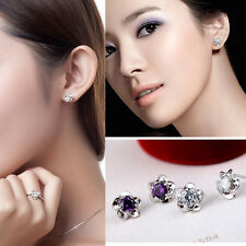 2014 Fashion Silver Platinum Plated Allergy Free Flower Crystal Stud Earrings