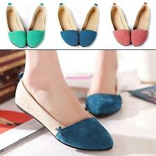 Ladies Summer Suede Slip On Pointed Toe Ballet Flats Dolly Loafer Casual Shoes