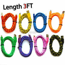 Popular 8 pin Braided usb data sync cable cord 3 FT for iphone 5s 5c IOS 7.1 LOT