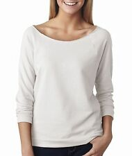 6951 Next Level Tee Shirt Blank Terry Raw-Edge 3/4-Sleeve Raglan Women's