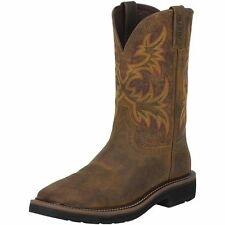 JUSTIN MENS STAMPEDE NON-STEEL TOE WORK BOOTS/COWBOY BOOTS! SQUARE TOE -WK4681