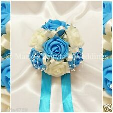 SILK WEDDING FLOWERS, FLOWER GIRL BRIDESMAID POSY FOAM ROSES TURQUOISE & IVORY