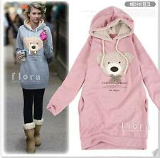 Fashion Womens Girl Winter Hoodie Coat Sweatshirt Jumper Cute Bear Sweater Pink