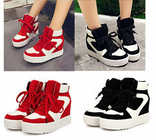 Womens thick sole high-top Lace up sneakersmixed color inside heighten shoes