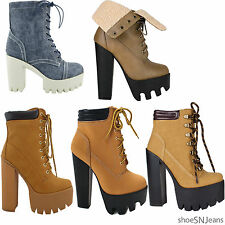 New Women Chunky Heel Boots Platform Lace Up Padded Collar Ankle Lug Sole Bootie