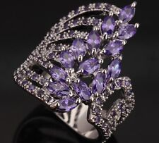 Costly Hot Purple Amethyst Topaz Gemstones Silver Rings US#Size5 6 7 8 9 T0284
