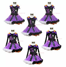 Halloween Maleficent 1ST 2ND 3RD 4TH 5TH 6TH Birthday Girl Top Pettiskirt 1-8Y