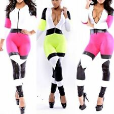 Sexy Fashion Womens Colorful Zipper Stretch Bodycon Rompers Jumpsuits Clubwear