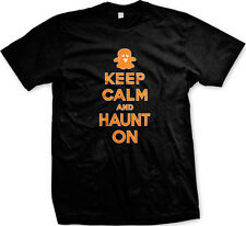 Keep Calm and Haunt On Ghost Boo Halloween Scare Goblin Scary Ghoul Mens T-shirt
