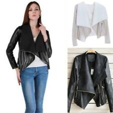 Girl Tops Jacket  Motorcycle Moto PU Leather Lapel Blazer Jacket Black/Khaki - S