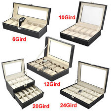 6/10/12/20/24 Slot Grid Leather Jewelry Watches Display Showing Storage Case Box