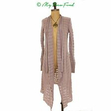 FREE PEOPLE FORGET ME NOT STRIPED OPEN CARDIGAN TAUPE MAUVE TOP S M L MYNF B2
