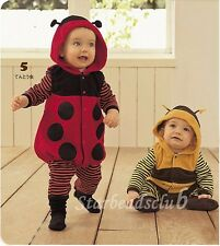 Fleece Ladybug or Bee Cartoon Infant Baby Halloween Costume Romper 3-24m