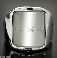 Rare Man Women's Polished White Opal Stainless Steel Ring Size #7 8.5 9.5 11 13