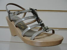 Fabulous Unisa taupe patent strappy jewelled wedges BNIB
