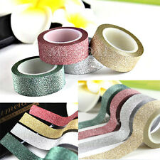 5M Glitter Washi Tape Paper Self Adhesive Stick On Sticky Craft Decorative DIY