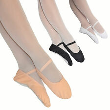 BOYS / GIRLS CANVAS BALLET DANCE SHOES - PRE-SEWN ELASTICS - BLACK WHITE PINK