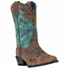 "DAN POST KIDS ""BLUEBIRD"" TEAL & BROWN  VINTAGE COWGIRL BOOTS! DPC-2151 DPC-3151"
