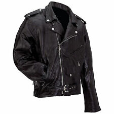 Diamond Plate™ Rock Design Genuine Buffalo Leather Motorcycle Jacket - MENS