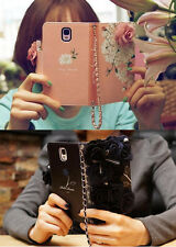 PZ 3D FlowersLeather Case For Apple iPhone 4/4S/5/5S/5C Samsung S3/S4/S5/N2/N3
