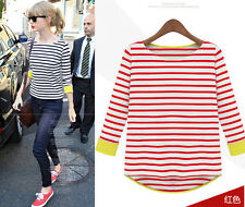 Women Classic Long SleeveTop Striped Round Collar Irregular T-shirt Blouse