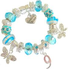 GIRLS CHARM BRACELET BLUE BIRTHDAY MESSAGE CHARM 9TH 10TH 11TH 12TH 13TH GIFT