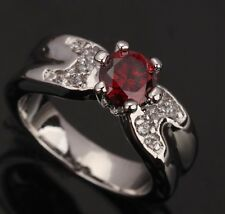 Fashion Jewelry IMPLICIT Garnet Gemstones Silver Rings US#Size5 6 7 8 9 T0186