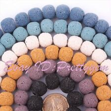 """14mm Round Lumpy Lava Rock Gemstone For DIY Jewelry Making Spacer Beads 15"""""""