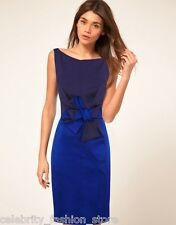 Karen Millen Royal Blue Colour Block Stretch Satin Bow Pencil Party Dress 6 8