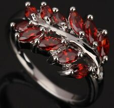 Fashion Jewelry Garnet Gemstones Silver Rings US#Size5 6 7 8 9 T0440
