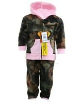 BABY INFANT GIRL CAMO / PINK HOODED FLEECE JACKET & PANT OUTFIT SET NWT