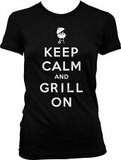 Keep Calm and Grill On Master BBQ Bar-B-Que Charcoal Propane Juniors T-shirt