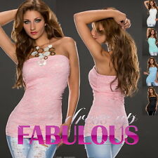 SEXY WOMEN'S LACE TOP Size 10-12 M/L PASTEL SUMMER PARTY EVENING CLUBWEAR TUBE