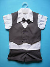 BABY BOY OUTFIT, 4 Piece, Dark Grey Special Occasion Suit, Wedding, Ages 0-3 Yrs