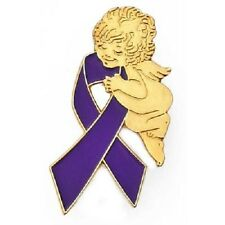 Purple Ribbon Guardian Angel Awareness Pin Lupus Epilepsy Many Cancer Causes