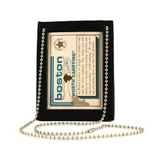 Boston Leather 5982 Neck Chain Double ID Holder, No Badge (Brown or Black)