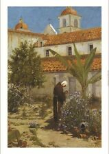 "A. JOULLIN ""In Garden, Santa Barbara Mission"" on CANVAS various SIZES, BRAND NEW"