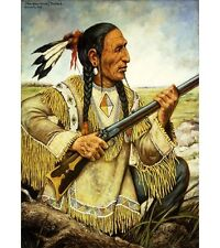 HENRY H. CROSS (Na-Pay-Shure) Red Hand NATIVE american indian rifle NEW PRINT!